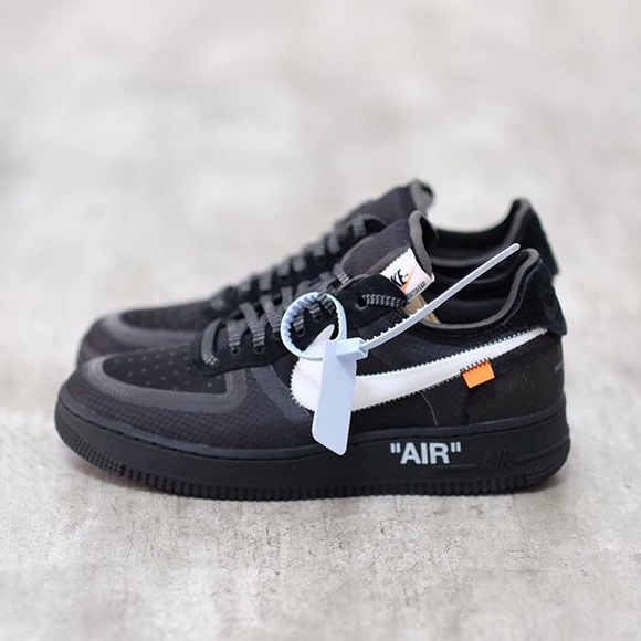 size 40 3675b 81885 OFF-WHITE x AIR FORCE 1 Low (Black) NWT